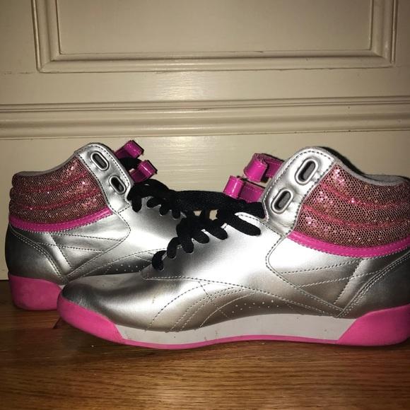 dc4d1fae5e5d1 Reebok Freestyle Hi Sequence Sneaker Silver. M 5aac3e586bf5a68d84880e40